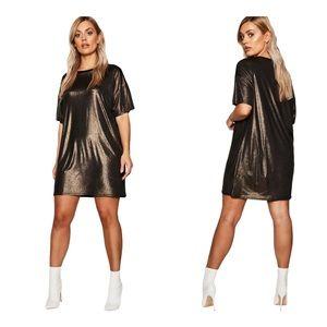 Boohoo Metallic Oversized T-Shirt Dress